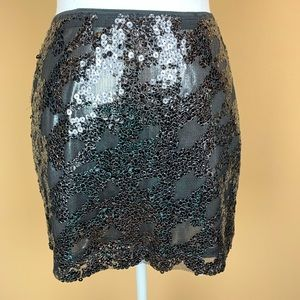 Express sequined mesh mini skirt pullon